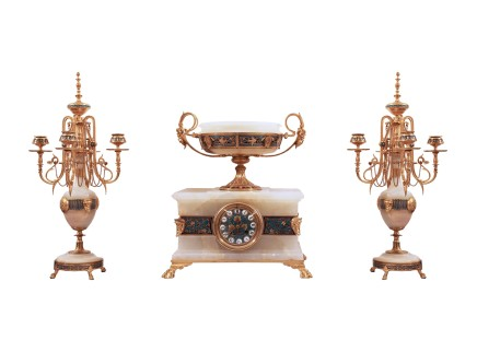 Ferdinand Barbedienne, Gilt bronze clock garniture, Late 19th century