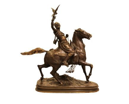 Pierre-Jules Mêne, Fauconnier Arabe à Cheval (Arab Falconer on a horse)