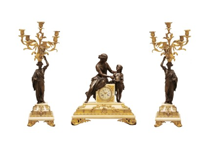 Gilt bronze clock garniture, late 19th century