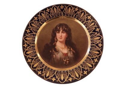 A vienna-style painted porcelain portrait plate, Late 19th century