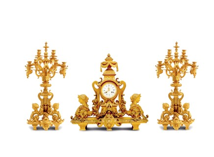 G.J. Levy / Japy Frères, A gilt-bronze three-piece clock garniture, middle of 19th century