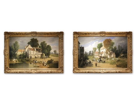 Léon Légat, Pair of paintings: Peasants by the Pond & Entrance to the village