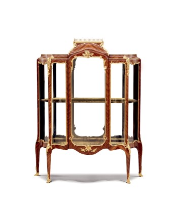 Paul Sormani and Paul-Charles Sormani, Vitrine in inlaid veneer and gilt bronze, Louis XV style, end of 19th century