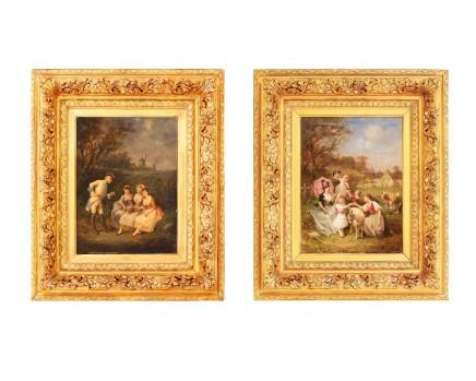 Francois Louis Lanfant de Metz, Pair: Women and children and Gallant Scenes, 19th century