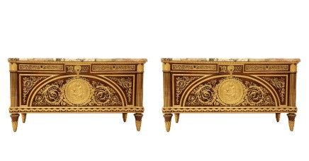 Pair of Louis XVI style Gilt-Bronze Mounted Commode À Vantaux
