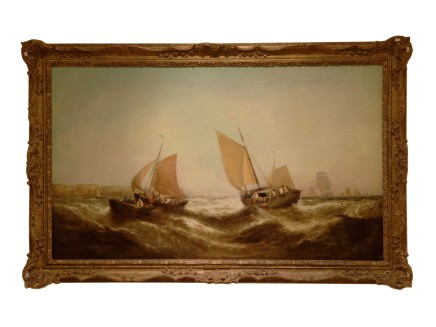 William Calcott Knell, Fishing Boats in a swell off a coastal town