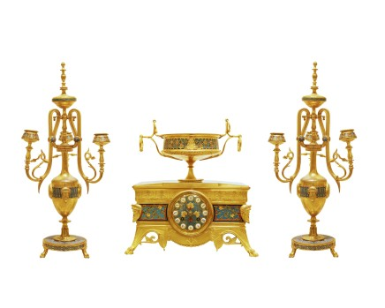Ferdinand Barbedienne, A gilt-bronze three-piece clock garniture, late 19th century