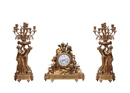 Gilt bronze clock garniture, Paris, 3rd quarter 19th century