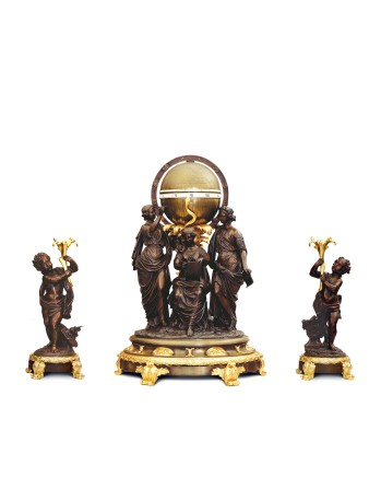 A Louis XV Style three-piece Clock Garniture, Late 19th century