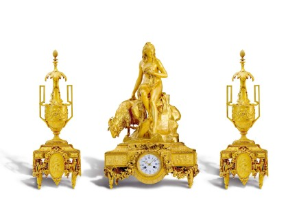 Ferdinand Barbedienne, An exceptional gilt-bronze three-piece clock garniture, middle of 19th century