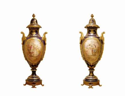 Pair of Sèvres-style porcelain vases, late 19th century