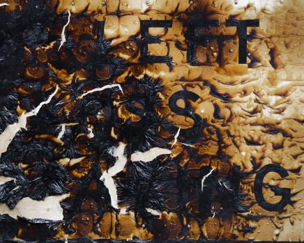 Gideon Mendel, Burnt sign on the Princess Highway. Victoria, 2020