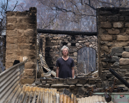 Gideon Mendel, Marco Frith at his burnt home in Wandella, New South Wales, 2020