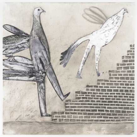 Hans Lemmen, BIRD PEOPLE ON STAIRS, 2016