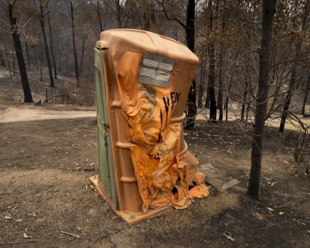 Gideon Mendel, Burnt portable toilet. Upper Brogo, New South Wales, 2020