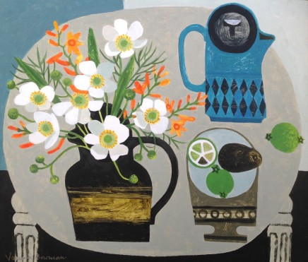 Vanessa Bowman, White Anemones and Crocosmia