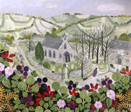 Vanessa Bowman, Church and Late Summer Hedgerow, 2020