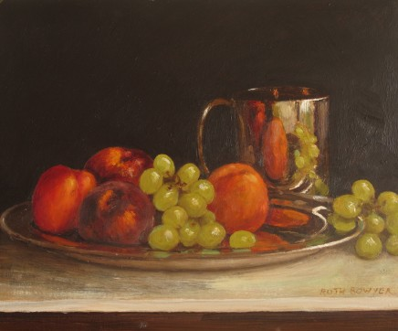 Ruth Bowyer, Nectarines and grapes on silver dish
