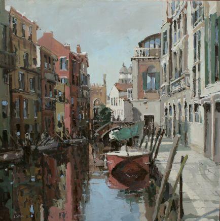 Robert E Wells RBA NEAC, Barge, Venetian Canal , 2020