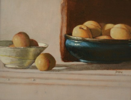 Diane Urwin, Apricots in Blue Bowl