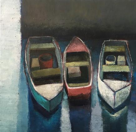 Nigel Sharman, Three Moored Boats (Study)