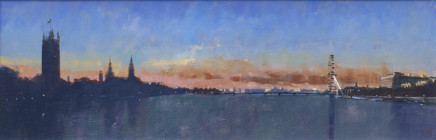 David Sawyer RBA, London sunset, view from Lambeth Bridge