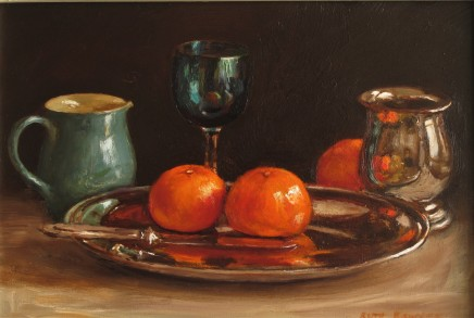 Ruth Bowyer, Tangerines on silver dish with Denby jug
