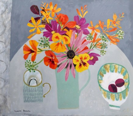 Vanessa Bowman, Garden Flowers in Turquoise Jug
