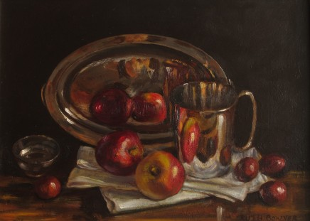 Ruth Bowyer, Apples on white cloth with conkers