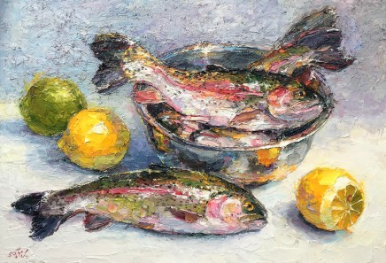 Lana Okiro, Still Life with Trout and Lemons