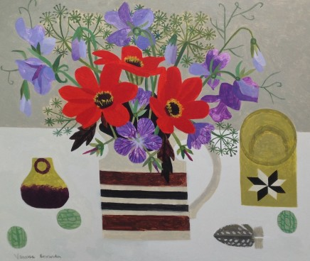 Vanessa Bowman, Red Dahlias and Sweetpeas