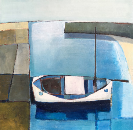 Nigel Sharman, White Boat in Harbour