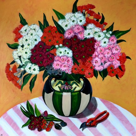 John Klein, Gum Blossoms in Art Deco Vase, 2020