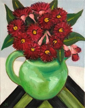 John Klein, Red Gum Blossoms in Green Jug, 2020