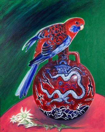 John Klein, Crimson Rosella Chinese Dragon Vase & Flannel Flower Blooms, 2019