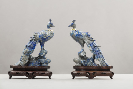 Pair of lapis figures of birds, Prob. Russian, 1930 circa