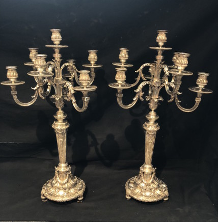 Odiot, Paris, Pair of seven light candelabra, 1890 ca.