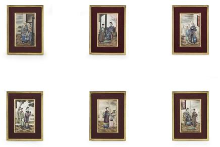 Serie di sei dipinti incorniciati, Cina, XiX secolo