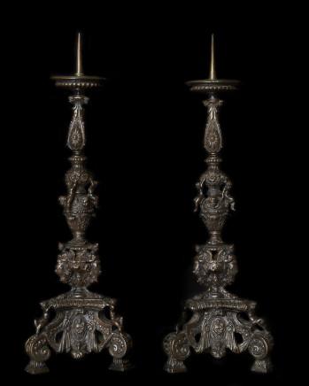 Pair of Bronze Candelabra, 17th Century