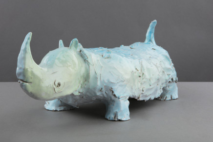 Carla Tolomeo, Glazed terracotta figure of a Rhino, 2012