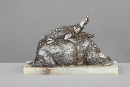 Sirio Tofanari, A Crocodile and a Hippopotamus, Early 20th Century
