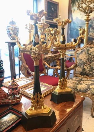 Pair of gilt and patinated bronze candelabra, France, ca. 1820