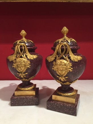 Pair of Vases in Red Porphyry and Gilt Bronze