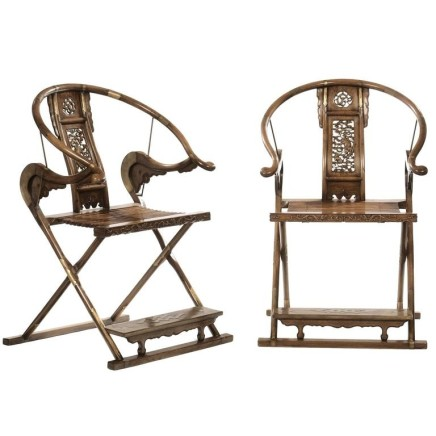 Pair of Chinese Huanghuali Hardwood Folding Horseshoe-back armchairs, Late 18th Century , Late 18th Century
