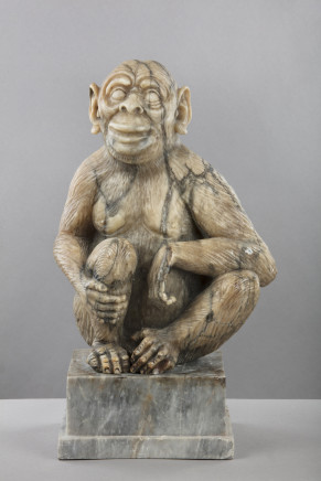 Alabaster Figure of a Monkey, Germany, 19th Century