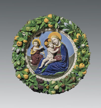 Luca della Robbia the Younger, after a model by Andrea della Robbia, The Virgin and Child and the Young Saint John the Baptist (The Madonna of Humility, or Madonna of the Meadow), within a garland of fruit and flowers, Florence, ca. 1500-1510