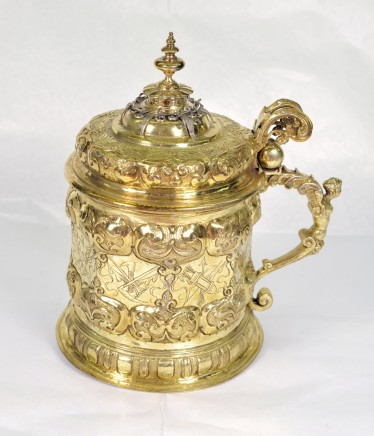 Nicolas Weiss, Carved gilded silver goblet with handle and hinged lid, Germany, 1619