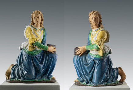 Master of the San Giovannino statuettes, identified as Benedetto da Rovezzano (Benedetto di Bartolomeo Grazzini, Benedetto di Bartolomeo Grazzini, Canapale near Pistoia, 1474 - Vallombrosa, ca. 1552) and Benedetto Buglioni (Florence, 1459/60-1521), Pair of candle-holding angels, Florence, ca. 1510