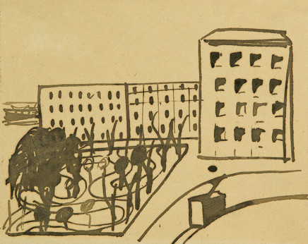 Mario Sironi, Urban landscape with tram, ca. 1920