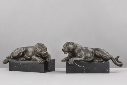 Pair of bronze Panthers, 20th Century